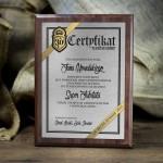 Zdjęcie produktu Certyfikat Urodzinowy - dyplom grawerowany