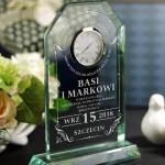 Zdjęcie produktu Lucky - grawerowana statuetka z zegarem na ślub lub rocznicę, dla pary