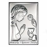 Zdjęcie produktu Dziewczynka - grawerowany obrazek srebrny na I Komunię Świętą dla dziewczynki