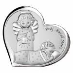 Zdjęcie produktu Twój Anioł Stróż - grawerowany obrazek srebrny z okazji Chrztu Świętego