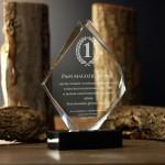 Zdjęcie produktu Grawerowana statuetka kryształowa, podziękowanie na dowolną okazję