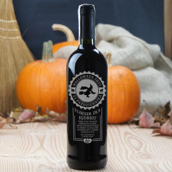 Eliksir zła - czerwone wino grawerowane na Halloween