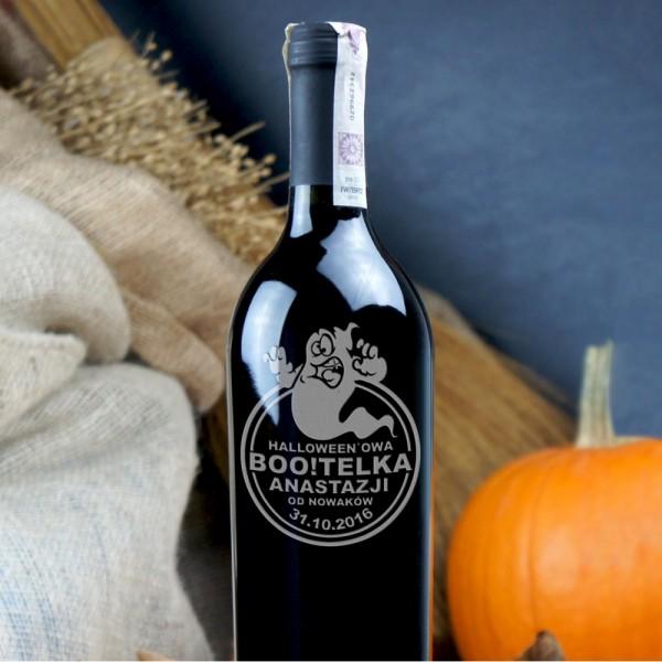 Boo!telka czerwonego wina grawerowana na Halloween