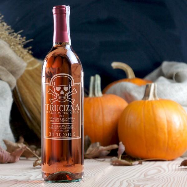 TRUCIZNA HALLOWEEN`OWA - różowe wino grawerowane na Halloween