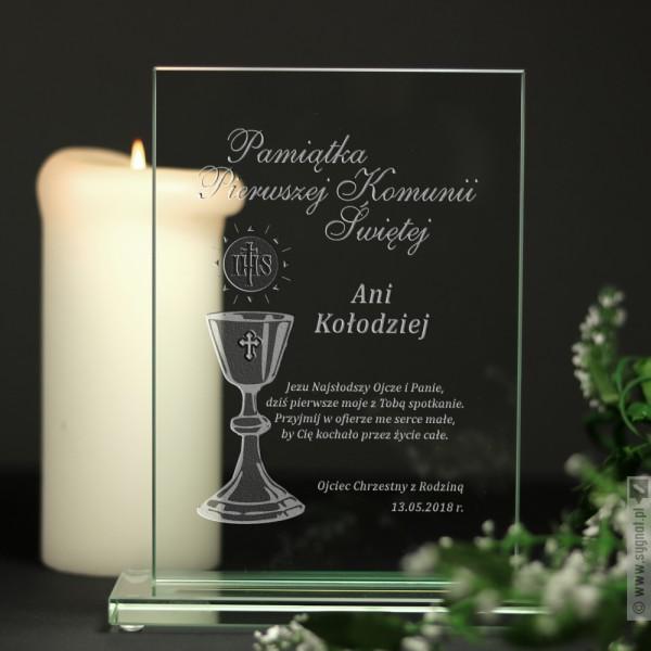 Grawerowana pamiątka Pierwszej Komunii Świętej z personalizacją