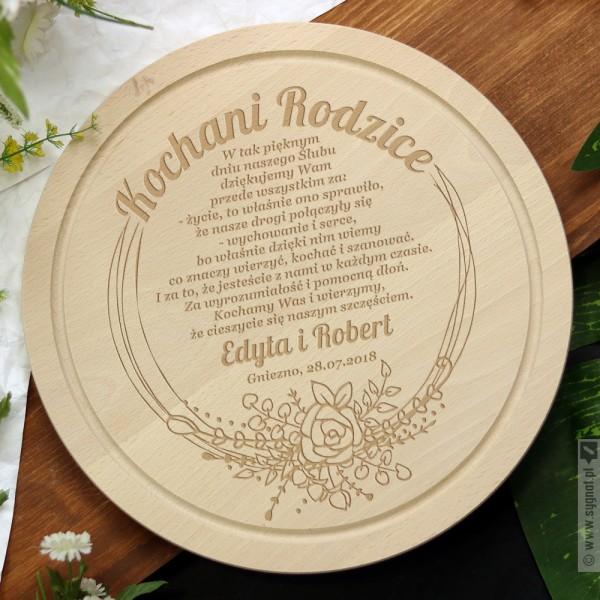 Dear Parents - grawerowana deska kuchenna z personalizacją - podziękowanie dla Rodziców