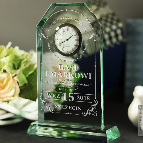 Lucky - grawerowana statuetka z zegarem na ślub lub rocznicę, dla pary