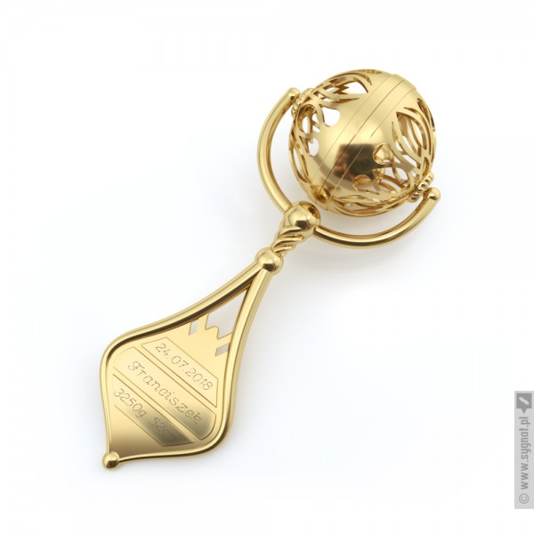 Złota Grzechotka - grawerowana pamiątka ze złota na Chrzest Święty