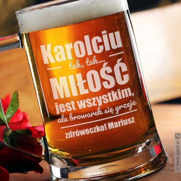 Beer First - grawerowany kufel do piwa z personalizacją dla niej 500ml