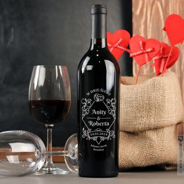 Dzień Ślubu - grawerowane wino z personalizacją dla pary z okazji Ślubu