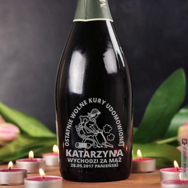 Kura Domowa - grawerowane wino musujące Prosecco z personalizacją na Panieński