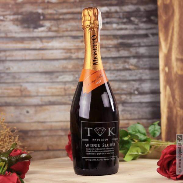 Diament - grawerowane wino musujące Prosecco z personalizacją dla Młodej Pary
