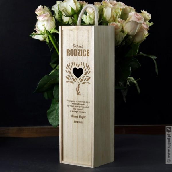 Kochani Rodzice - drewniana skrzynka na wino z personalizacją dla rodziców