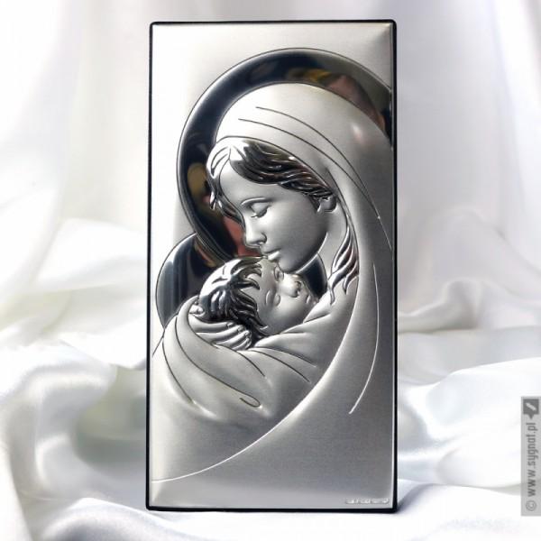 Madonna - srebrny obrazek z personalizacją na Komunię