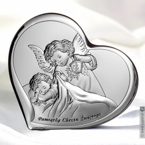 Anioł Stróż - grawerowany obrazek ze srebra na Chrzest z personalizacją