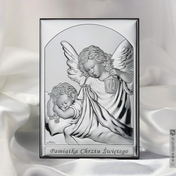 Aniołek - srebrny obrazek z personalizacją na Chrzest