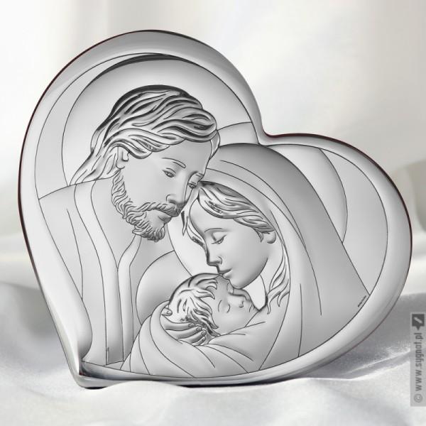 Św. Rodzina w Sercu - grawerowany obrazek ze srebrem na pamiątkę Chrztu Św.