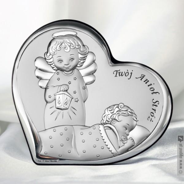 Twój Anioł Stróż - grawerowany obrazek srebrny z okazji Chrztu Świętego