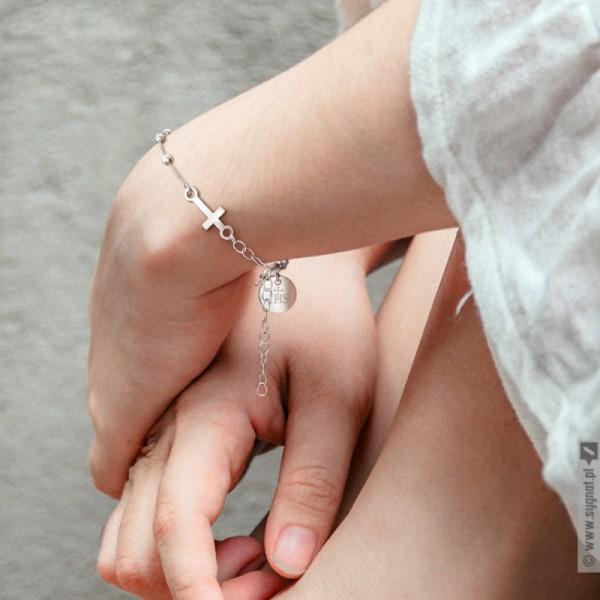 Różaniec - personalizowana bransoletka ze srebra na pamiątkę I Komunii Świętej