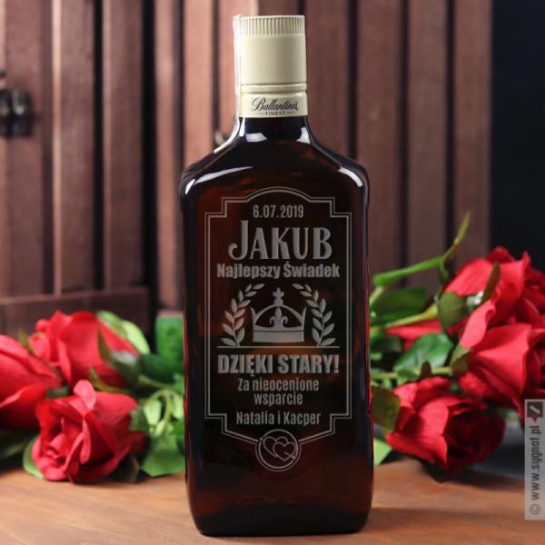 Personalizowana Whisky Ballantine's w podziękowaniu dla Świadka