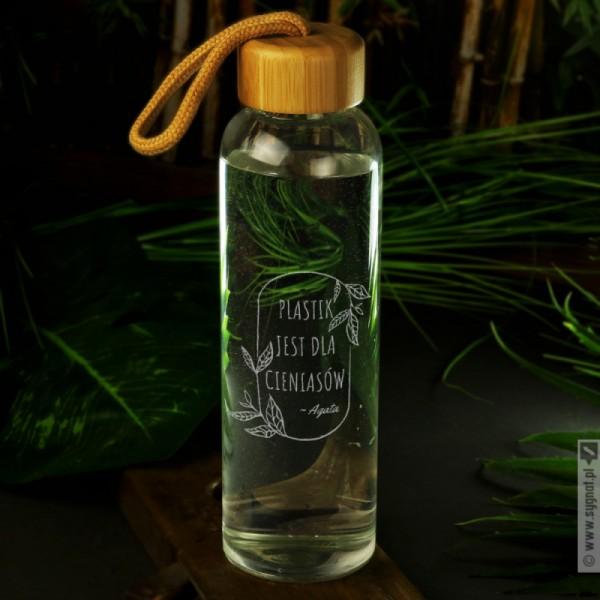 Plastic free - grawerowana szklana butelka z personalizacją