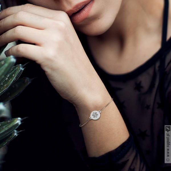 Eskulap - grawerowana bransoletka ręcznie wykonana ze srebra 925
