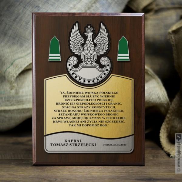 Przysięga Wojskowa - grawerowany dyplom z personalizacjądla wojskowego