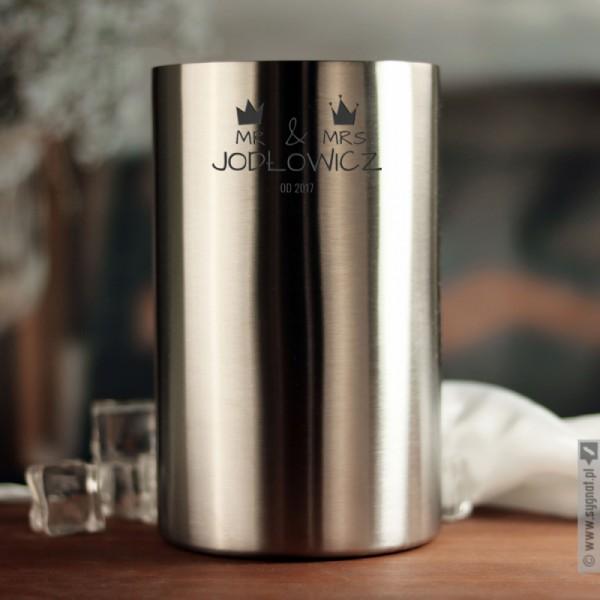 Mr & Mrs - grawerowany kubełek chłodzący z personalizacją dla pary