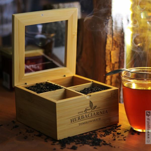 Herbaciarnia - grawerowane pudełko na herbatę z personalizacją