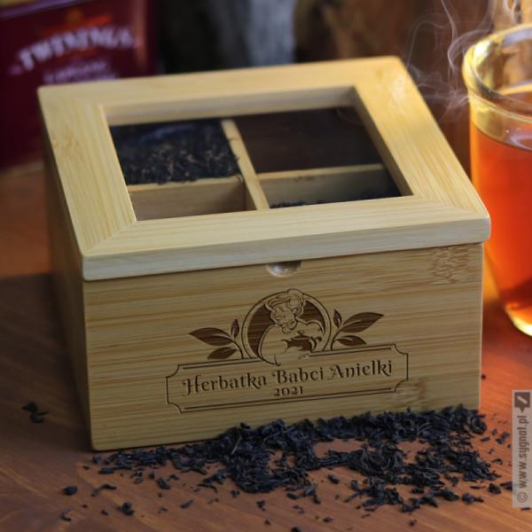 Herbatka Babci - grawerowane pudełko na herbatę dla Babci