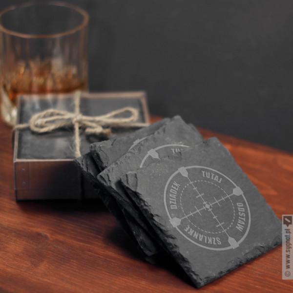 Szklankę Odstaw Tutaj - personalizowane podkładki kamienne pod napoje dla Dziadka