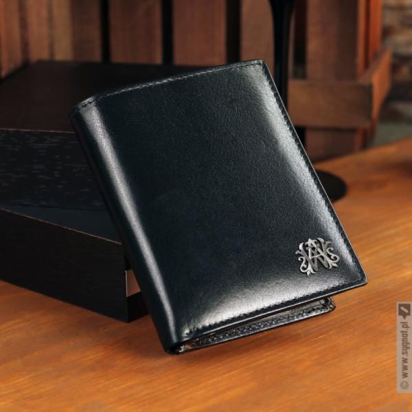 Monogram Wallet - personalizowany portfel skórzany z monogramem wykonanym ręcznie ze srebra