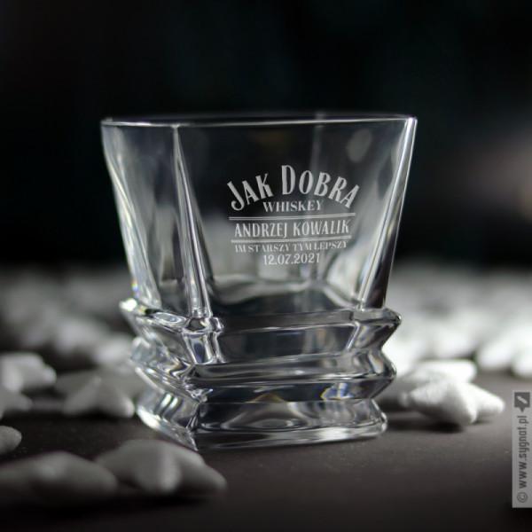 Im Starszy Tym Lepszy - grawerowana szklanka do whisky z personalizacją