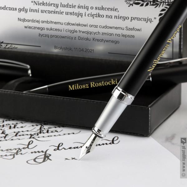 Dla Szefa - grawerowany zestaw piśmienniczy długopis i pióro z personalizacją