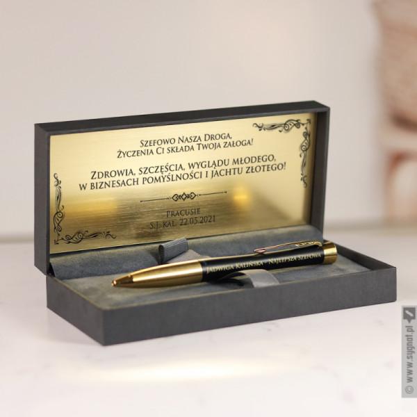 Urodziny Szefa - grawerowany długopis Parker  w etui z personalizacją dla Szefa