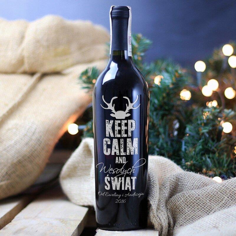 Zdjęcie produktu Keep Calm - grawerowane wino na Gwiazdkę