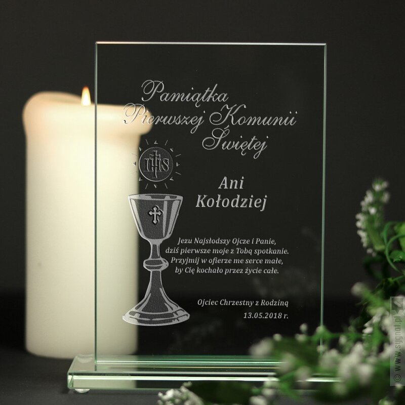 Zdjęcie produktu Grawerowana pamiątka Pierwszej Komunii Świętej z personalizacją
