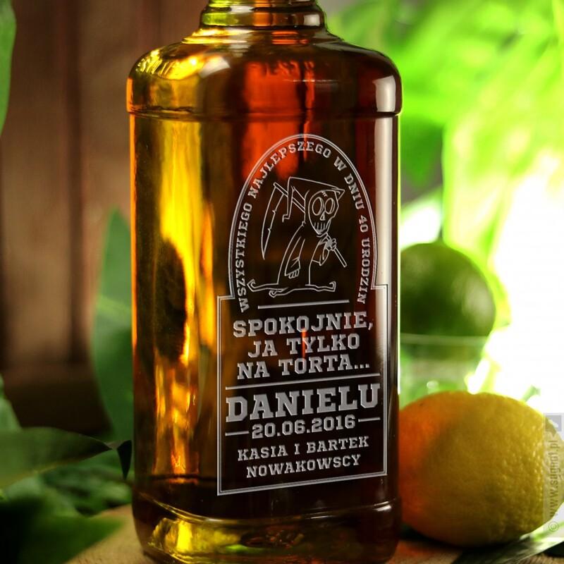 Zdjęcie produktu Ponury Kosiarz - grawerowana whiskey Jim Beam z okazji urodzin