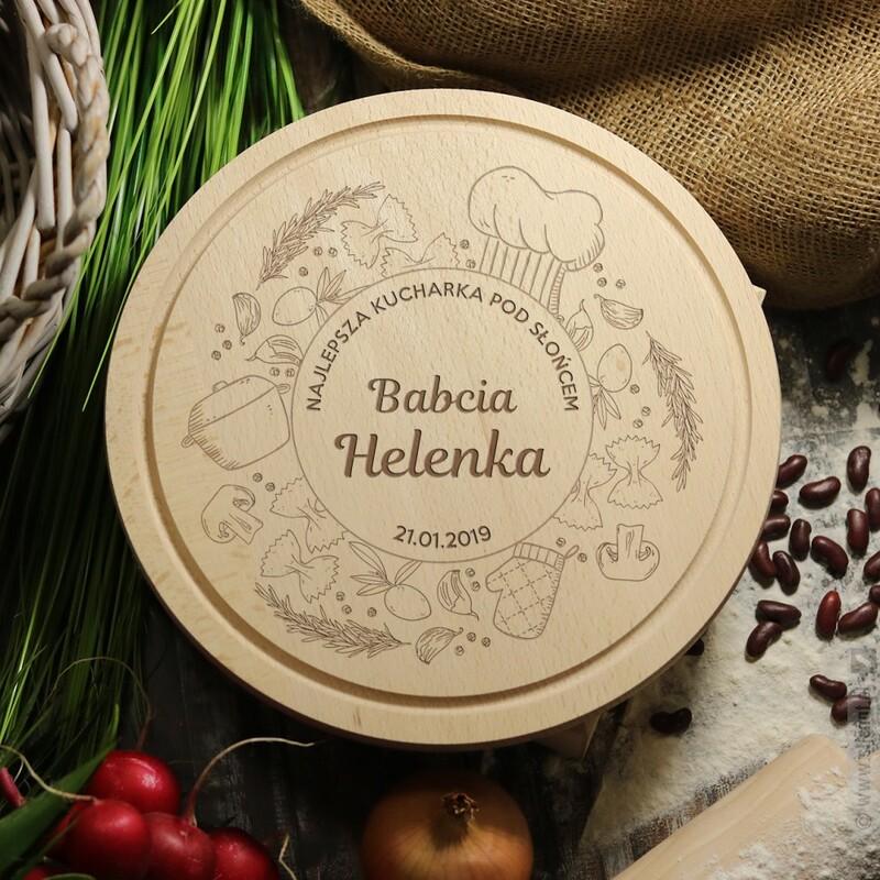 Zdjęcie produktu Najlepsza Kucharka - grawerowana deska do krojenia z personalizacjądla babci