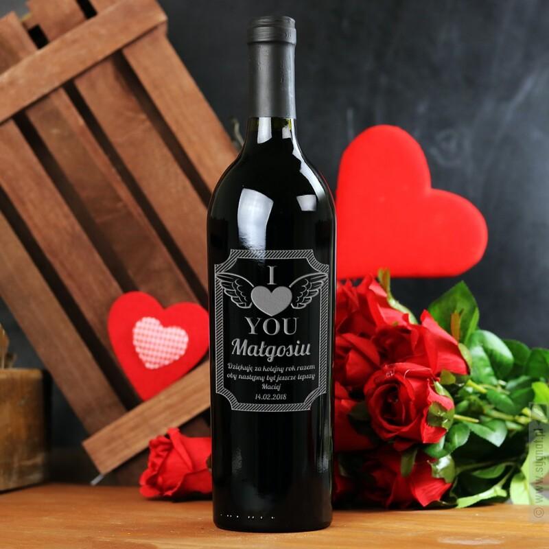 Zdjęcie produktu I Love You - grawerowane wino z personalizacją dla ukochanej osoby