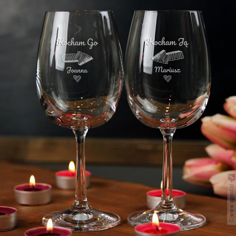 Zdjęcie produktu Zakochani - zestaw personalizowanych kieliszków dla pary