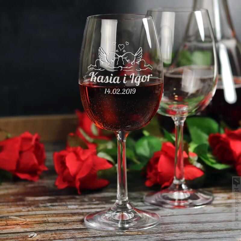 Zdjęcie produktu Anielska Miłość - grawerowany kieliszek do wina dla pary