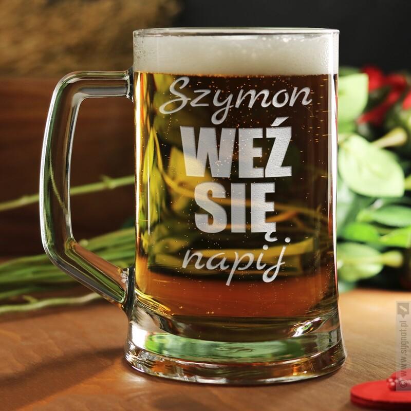 Zdjęcie produktu Napij Się - grawerowany kufel do piwa z personalizacją  na dowolną okazję 500ml