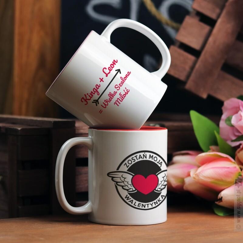 Zdjęcie produktu Zostań Moją Walentynką - dwustronny kubek z personalizacją dla zakochanych
