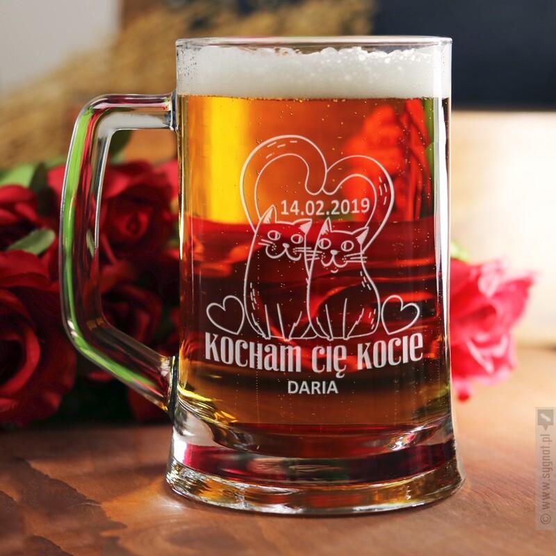 Zdjęcie produktu Kufel Kota - grawerowany kufel do piwa z personalizacją 500ml