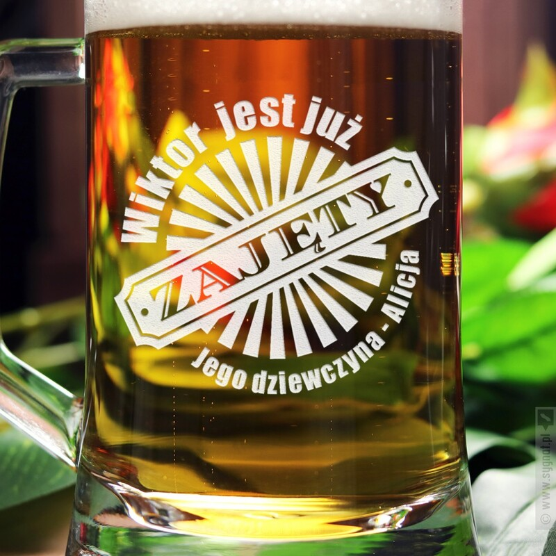 Zdjęcie produktu Zapieczętowany - grawerowany kufel do piwa z personalizacją dla chłopaka 500ml