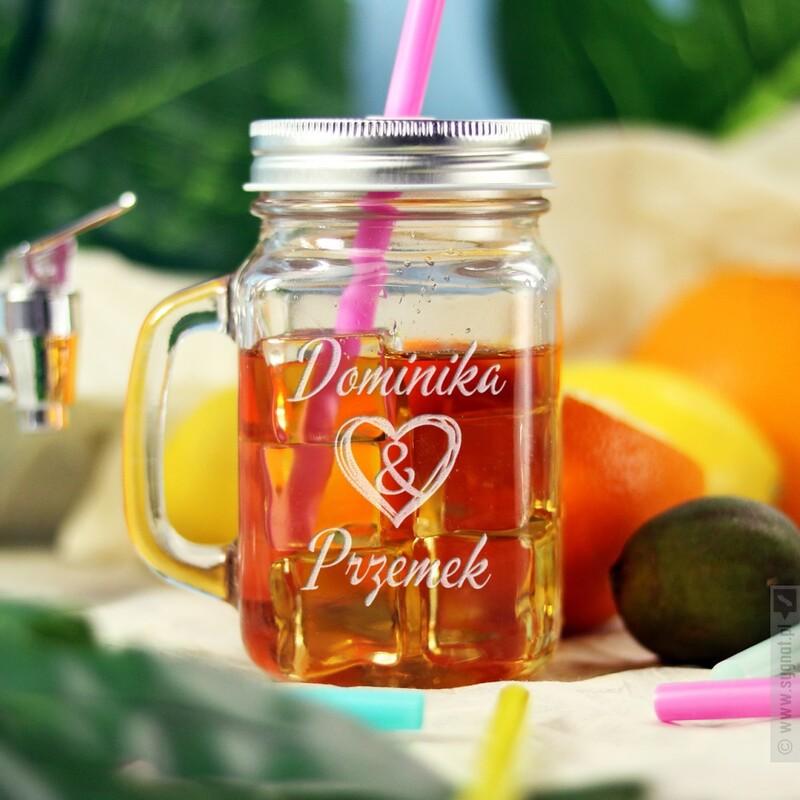 Zdjęcie produktu Together - grawerowany kubek-słoik z personalizacją dla zakochanych