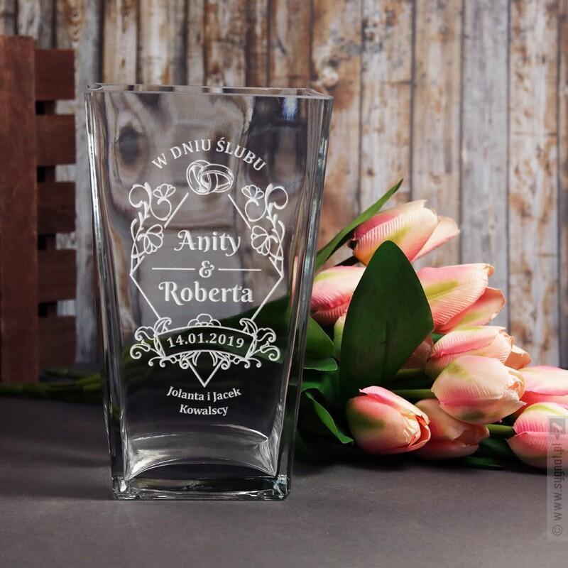 Zdjęcie produktu Ceremonia - grawerowany wazon z personalizacjąz okazji ślubu