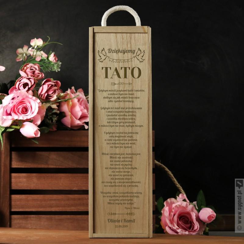 Zdjęcie produktu Hymn o Miłości dla Taty - grawerowana skrzynka do wina z personalizacją