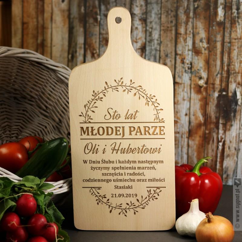 Zdjęcie produktu Sto Lat Młodej Parze - grawerowana deska z personalizacjąz okazji Ślubu